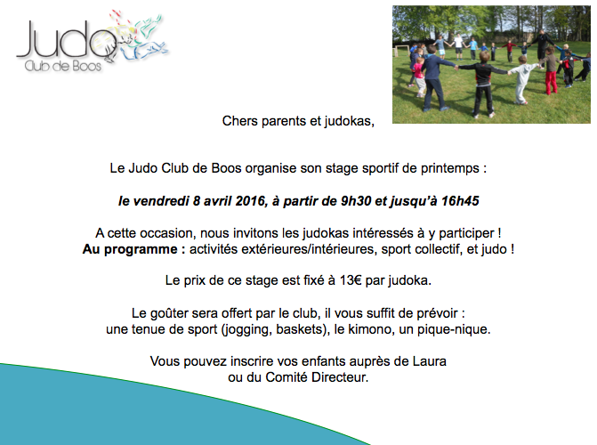 judo club boos stage sportif printemps 76